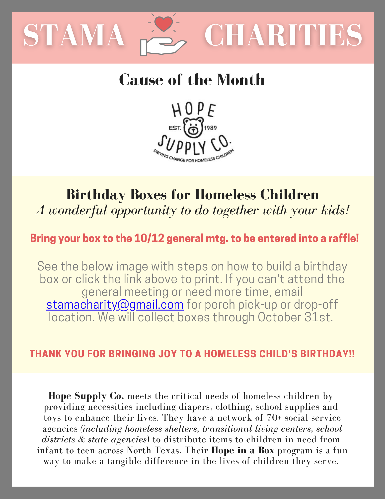 Charities Committee Hope in a Box Birthday Bodxes for Homeless Children