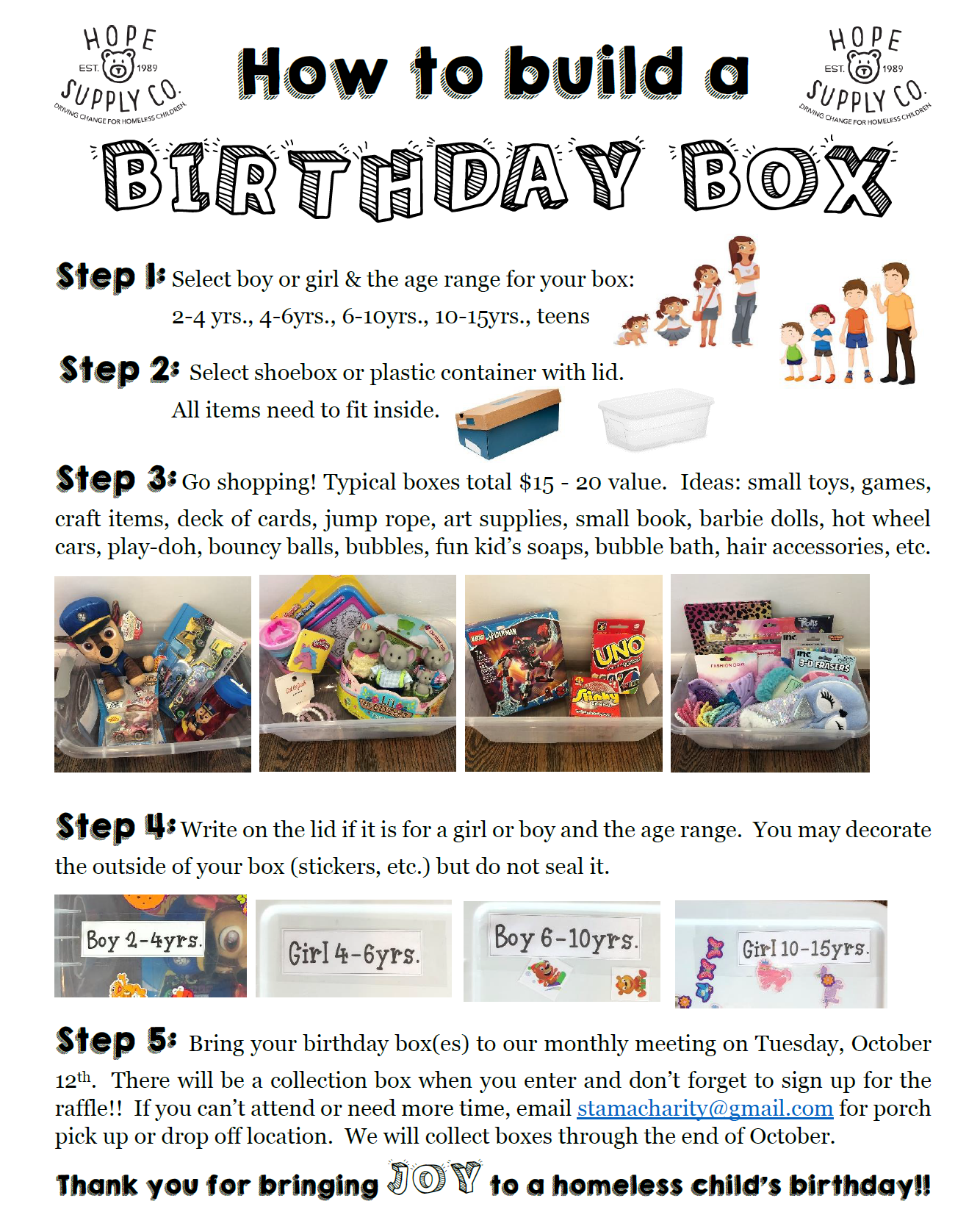 Instructions on how to build a Birthday Box for Children