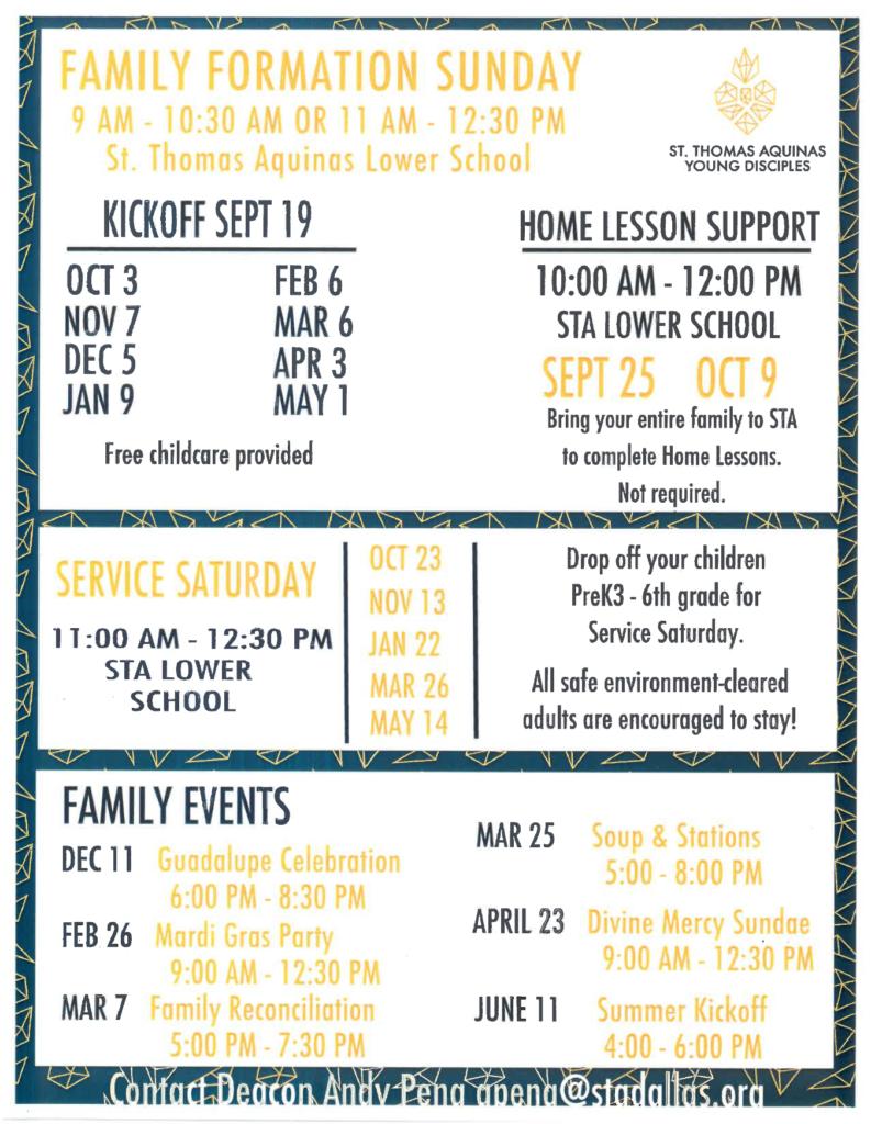 Famiy Formation Calendar 2021-2022 St. Thomas Aquinas Catholic Church Dallas