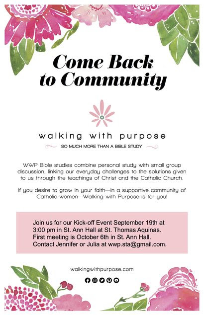 Walking with Purpose Catholic Bible study STA Dallas 2021